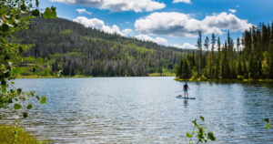 Steamboat Springs, CO lake with man paddle boarding