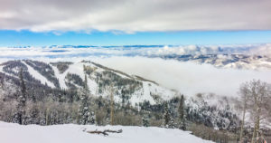 Steamboat Springs, CO snowy mountain ridge view
