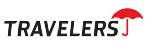 Travelers logo with red umbrella